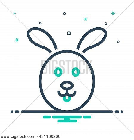 Mix Icon For Wild Wooded Rabbit Hare Cony Hare Face Animal