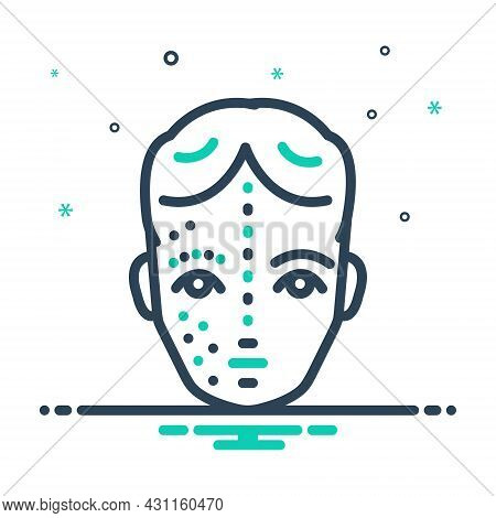 Mix Icon For After Before Face Rejuvenation Skin Wrinkle Pimple Disease