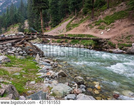 Wooden Bridge On The River In Kalam Bluewater Swat Valley Pakistan