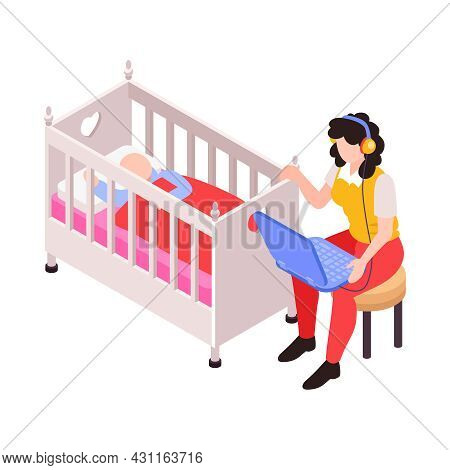 Isometric Icon With Mum Working On Laptop While Rocking Her Baby In Cradle Vector Illustration