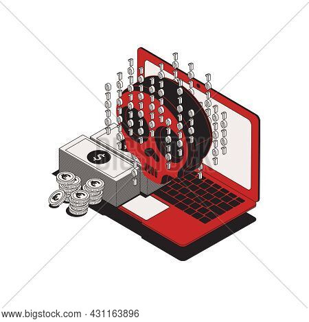Dirty Money Computer Crime Isometric Icon With Laptop Cash Biometric Code 3d Vector Illustration
