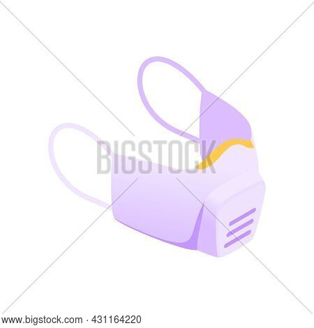 Isometric Icon With Respirator Protective Face Mask On White Background 3d Vector Illustration