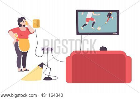 Utility Service Flat Composition With Various Electric Appliances And People In Living Room Vector I