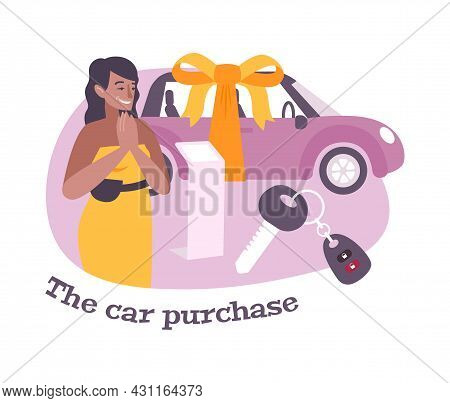 Car Purchase Flat Composition With Happy Woman Owner And Keys Vector Illustration