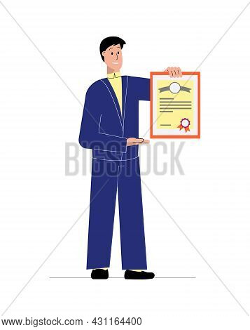 Flat Icon With Happy Male Tutor Holding Diploma Vector Illustration