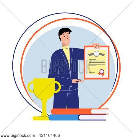 Flat Composition With Male Tutor Diploma Trophy Books Vector Illustration