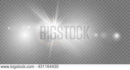 Vector Transparent Sunlight Special Lens Flash Light Effect.front Sun Lens Flash. Vector Blur In The