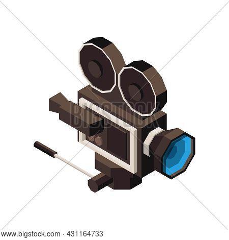 Cinema Isometric Icon With Black Vintage Film Camera 3d Vector Illustration