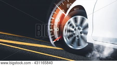 Race Car Start On Track And Burning Tire,speedometer Indicator Sweeping To 60 Mph,double Exposure Co