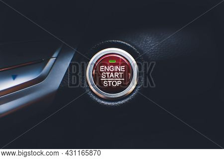 Engine Start Stop Button Of Car Keyless Entry System In The Car