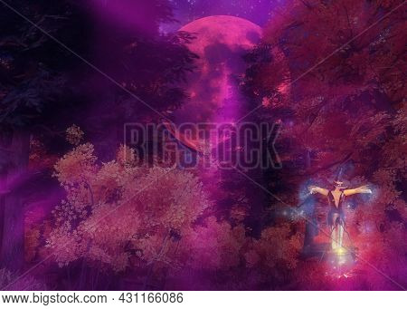 3D Night Autumn Forest And Witch