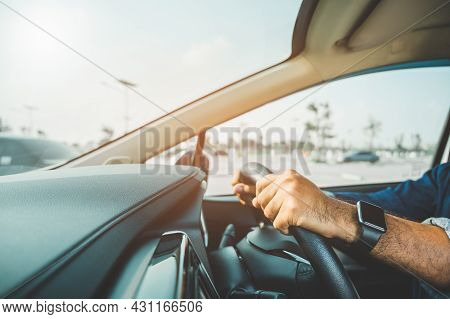 The Hand Is Holding The Steering Wheel Of The Car Safe Driving