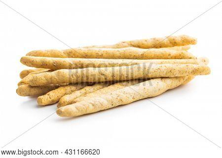 Grissini sticks. Traditional italian bread sticks isolated on white background.