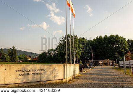 Wegierska Gorka, Poland, 08.07.2021. Wedrowiec Fort Entrance In Wegierska Gorka With Old Soviet Anti