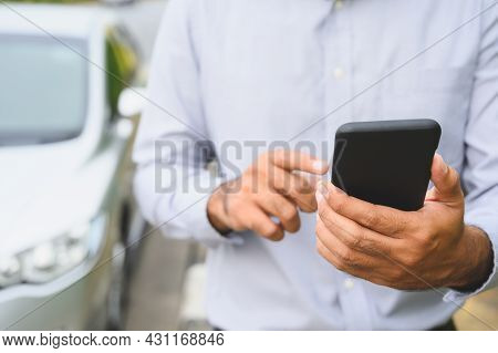 Business Man Using Smartphone Standing Near Car Background. Man Using Smart Phone Call For Help Brok