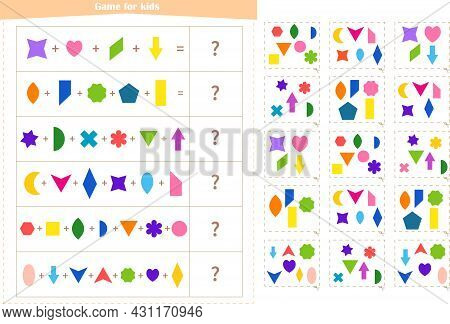 Logic Game For Children. Find The Correct Answer Card For Each Example. Development Of Attention, Me