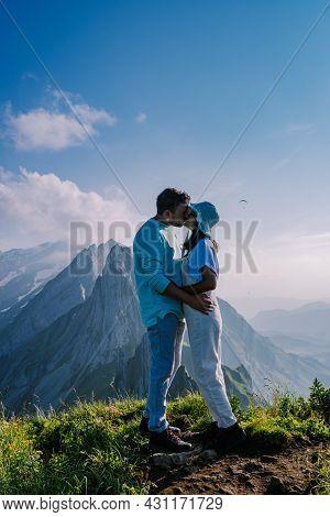 Schaefler Mountain Ridge Swiss Alpstein, Appenzell Switzerland, Steep Ridge Of The Majestic Schaefle