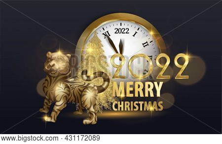 New Year Of The Gold Tiger 2022 With A Watch, Tiger Cub Freehand Drawing Gold. The Contour For Embos