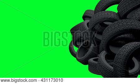 Tyres Bulk On Greenscreen Isolated Background. Black Tires Piles On A Garage Or Store. 3d Render Ill