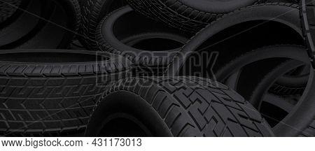 Tyres Bulk Header Background. Black Tires Piles On A Garage Or Store. 3d Render Illustration