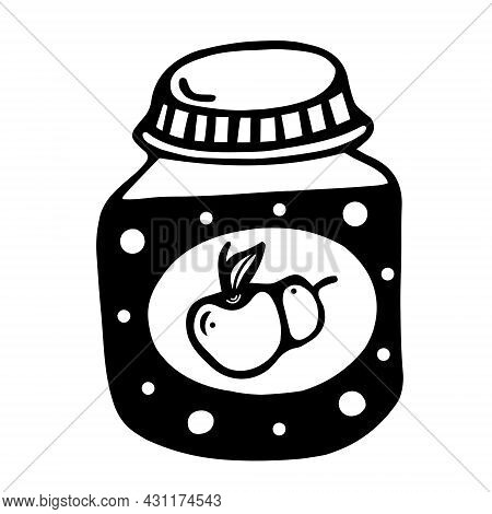 Glass Jar With Applesauce Icon. Hand Drawn Doodle Isolated On White Background. Baby Food For The Fi
