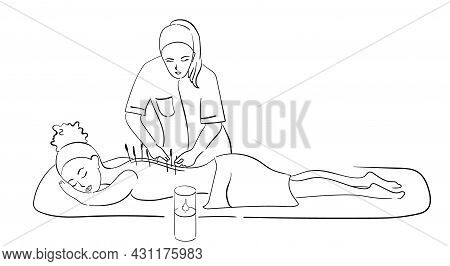 Professional Acupuncture For An African-american Girl. Black Outline Of A Vector Illustration, A Hea