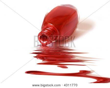 Red Enamel Over White