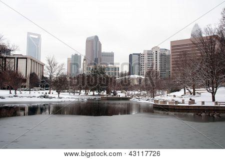 Charlotte Skyline In Snow