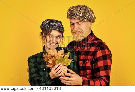Autumn Mood. Romantic Feelings. Couple In Love Stylish Outfit. Family Time. Couple Wear Checkered Ha