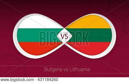 Bulgaria Vs Lithuania In Football Competition, Group C. Versus Icon On Football Background. Vector I