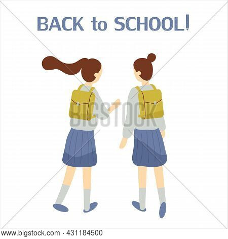 Two Classmates, Classfellows Or Friends Walk To School And Talk Or Chat.pair Of Girls Or Female Stud