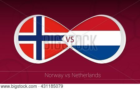 Norway Vs Netherlands In Football Competition, Group G. Versus Icon On Football Background. Vector I