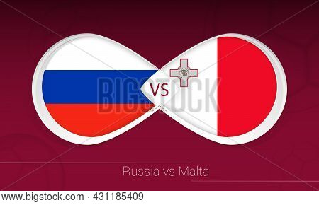Russia Vs Malta In Football Competition, Group H. Versus Icon On Football Background. Vector Illustr