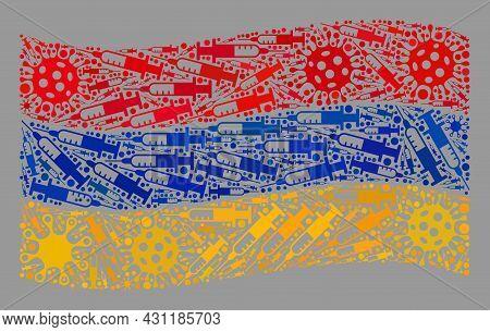 Mosaic Waving Armenia Flag Designed Of Virus And Syringe Elements. Vector Covid-2019 Treatment Colla