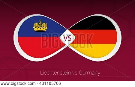 Liechtenstein Vs Germany In Football Competition, Group J. Versus Icon On Football Background. Vecto