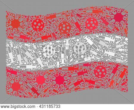 Mosaic Waving Austria Flag Designed Of Viral And Syringe Items. Vector Virus Therapy Collage Waving