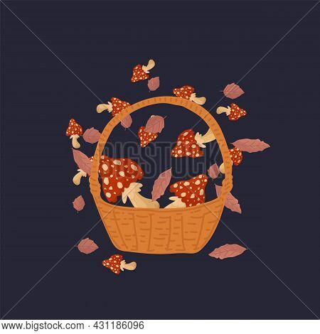 A Basket With Toxic Natural Mushrooms. Autumn Mushroom Illustration. Red Inedible Mushrooms In A Cir