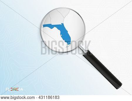 Magnifier With Map Of Florida On Abstract Topographic Background. Vector Map.