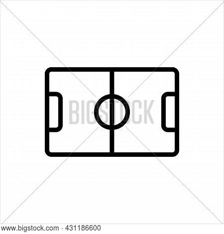 Pixel Perfect Black Thin Line Icon Of A Football Stadium Field. Editable Stroke Vector 64x64 Pixels.