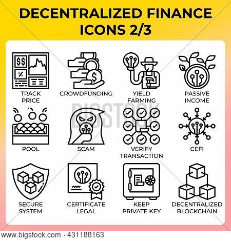 Decentralized Finance (defi) Icon Set In Modern Style For Ui, Ux, Web, App, Brochure, Flyer And Pres
