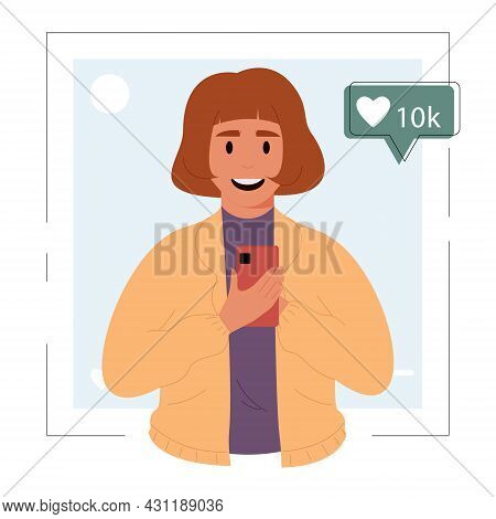 Smiling Woman Holds A Mobile Phone.popular Media Blogger Shares A Post And Views Social Networks.inf