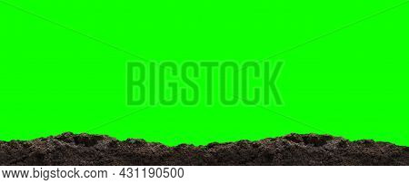 Dirt Heap, Soil Pile On Green For Green Screen Background, Horizontal Dirt, Black Soil For Construct