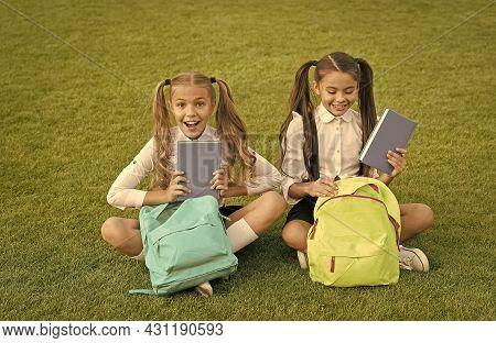Amazing Outdoor Library. Happy Children Pick Up Library Books. Lending Library. School Library. Lite