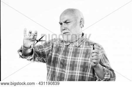 I Will Be Ready In Five Minutes. Shaving Razor Blade Tool Kit. Mature Bearded Man Isolated On White.