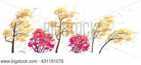 Set Of Trees And Bushes With Yellow And Red Leaves Isolated On White. Autumn Season. Deciduous Tree