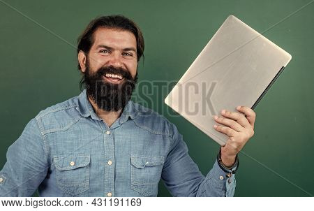 Elearning The Subject. Back To School. Happy Teachers Day. Brutal Man With Beard Hold Computer. Info