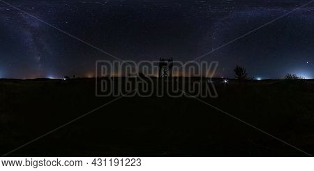 Full Seamless Spherical Night Panorama 360 Degrees Angle View On High Visibility Mountain Next To Ol