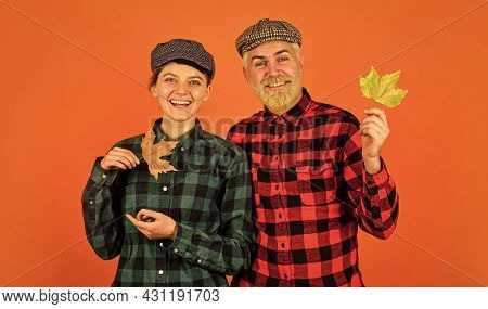 Farmers Market. Autumn Mood. Couple In Love Checkered Rustic Outfit. Retro Style. Cheerful Smiling C