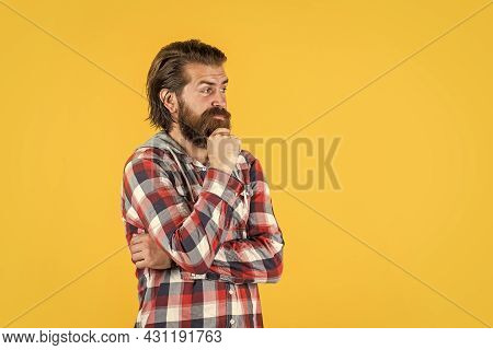 Let Me Think. Well Groomed Hairstyle. Male Beauty And Fashion Look. Hipster Checkered Shirt For Bear