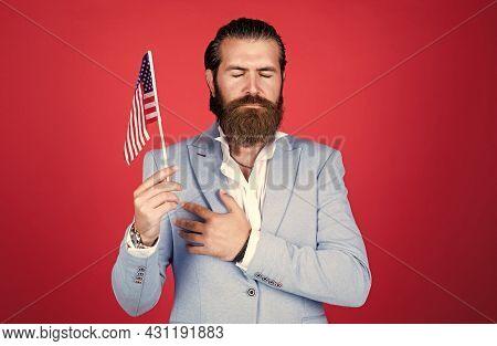 Hand On Heart. Patriotic Education. Celebration Of Freedom. American Dream. Patriotic Man. American